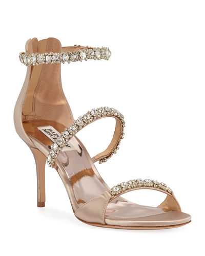 Yasmine Crystal-Strap Satin Sandals