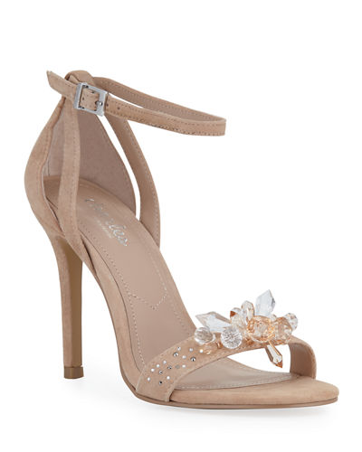 Rainey Jeweled Suede Ankle-Strap Sandals