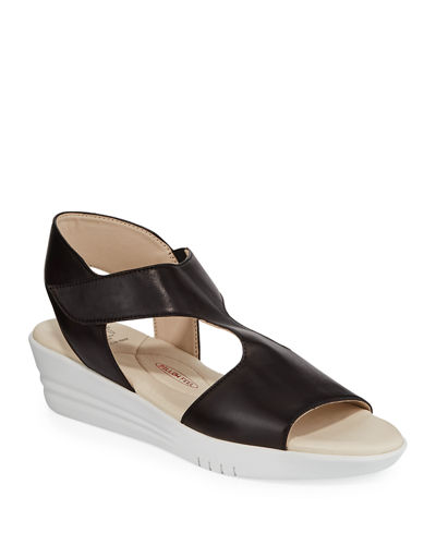 Gaby Leather Demi-Wedge Sandals