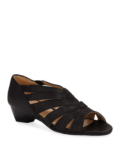 Demetra Demi-Wedge Leather Sandals