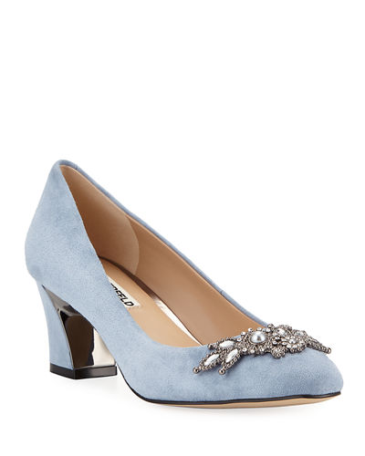 Akin Ornamented Suede Pumps