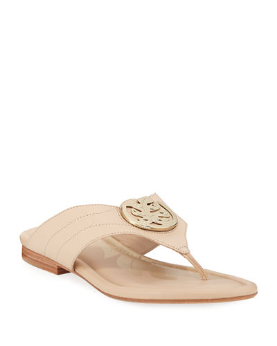 Floral Palms Leather Thong Sandals