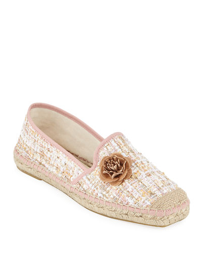 Tweed Slip-On Flower Espadrilles