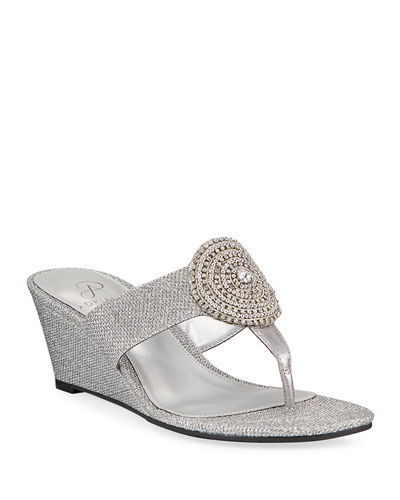 Cora Glittered Medallion Wedge Sandals