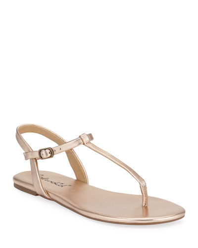 Sylvie Leather T-Strap Flat Sandals