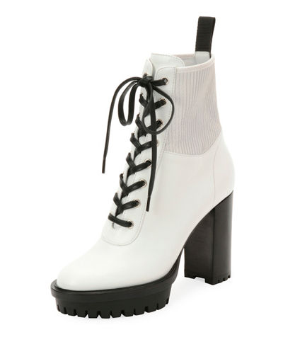 Leather Stretch Platform Bootie