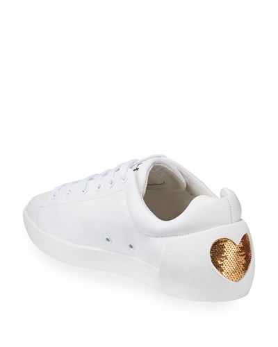 Nikita Hearts Sequined Leather Sneakers