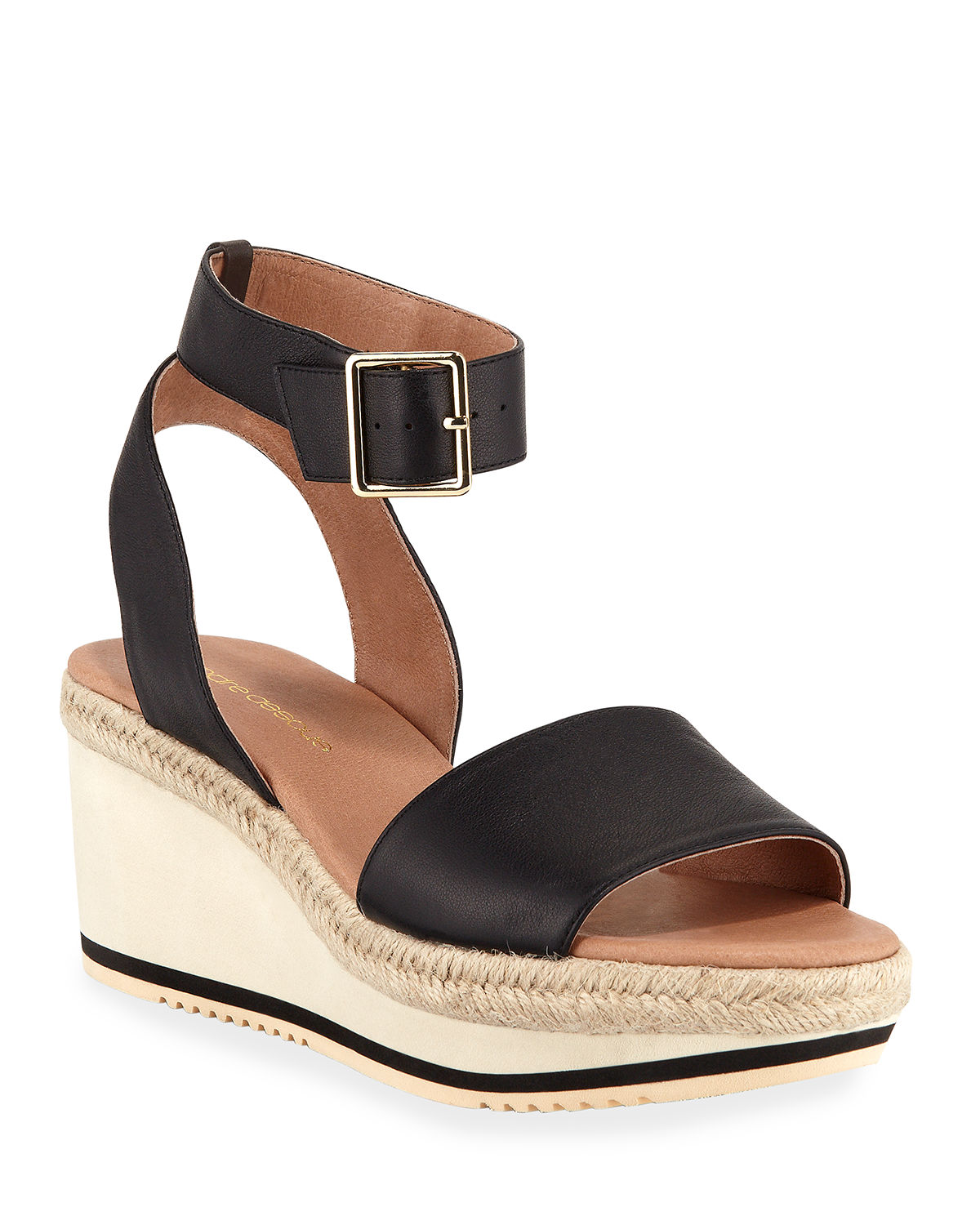 Andre Assous Sandals PETRA ANKLE-STRAP LEATHER WEDGE SANDALS