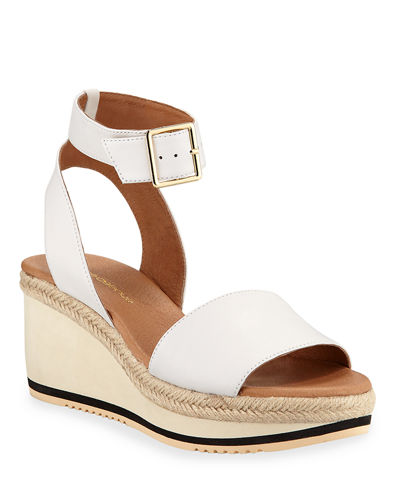 Petra Ankle-Strap Leather Wedge Sandals