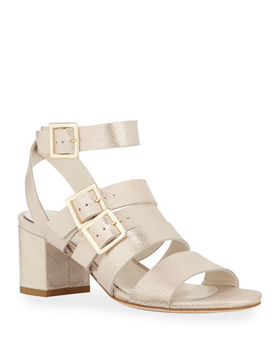 Tingle Metallic Buckle Ankle-Wrap Sandals