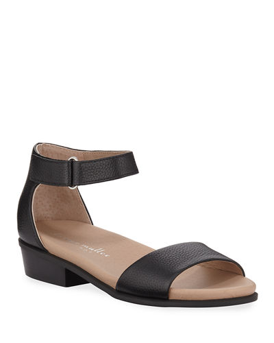 Bello Pebbled Leather Ankle-Strap Sandals