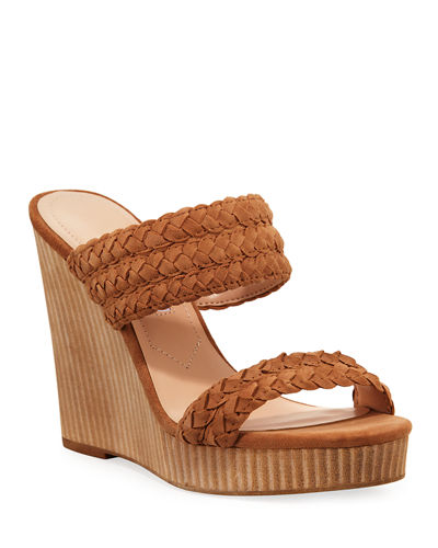 Tifa Braided Leather Wedge Sandals