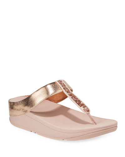 Fino Glittered Metallic Thong Sandals