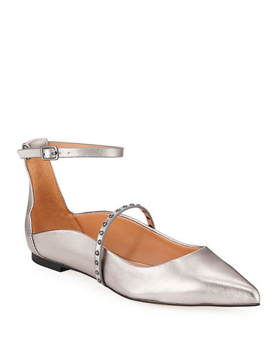 Arwen Studded Metallic Ankle-Strap Flats