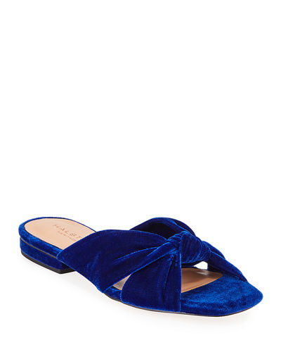 Ginny Knotted Velvet Slide Sandals