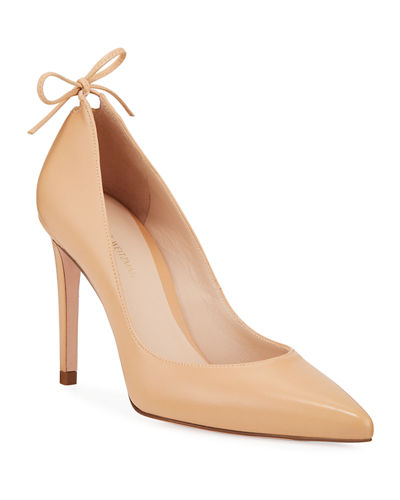Peekabow Pointed-Toe Leather Pumps