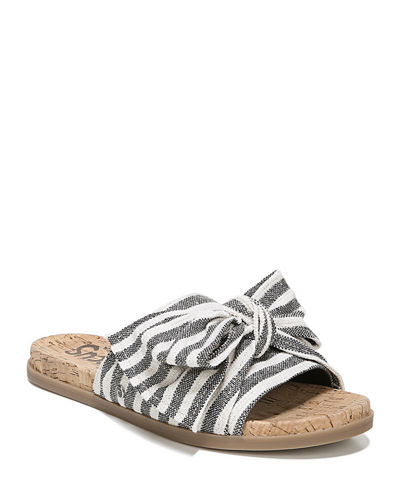 Nicola Canvas Bow Slide Sandals