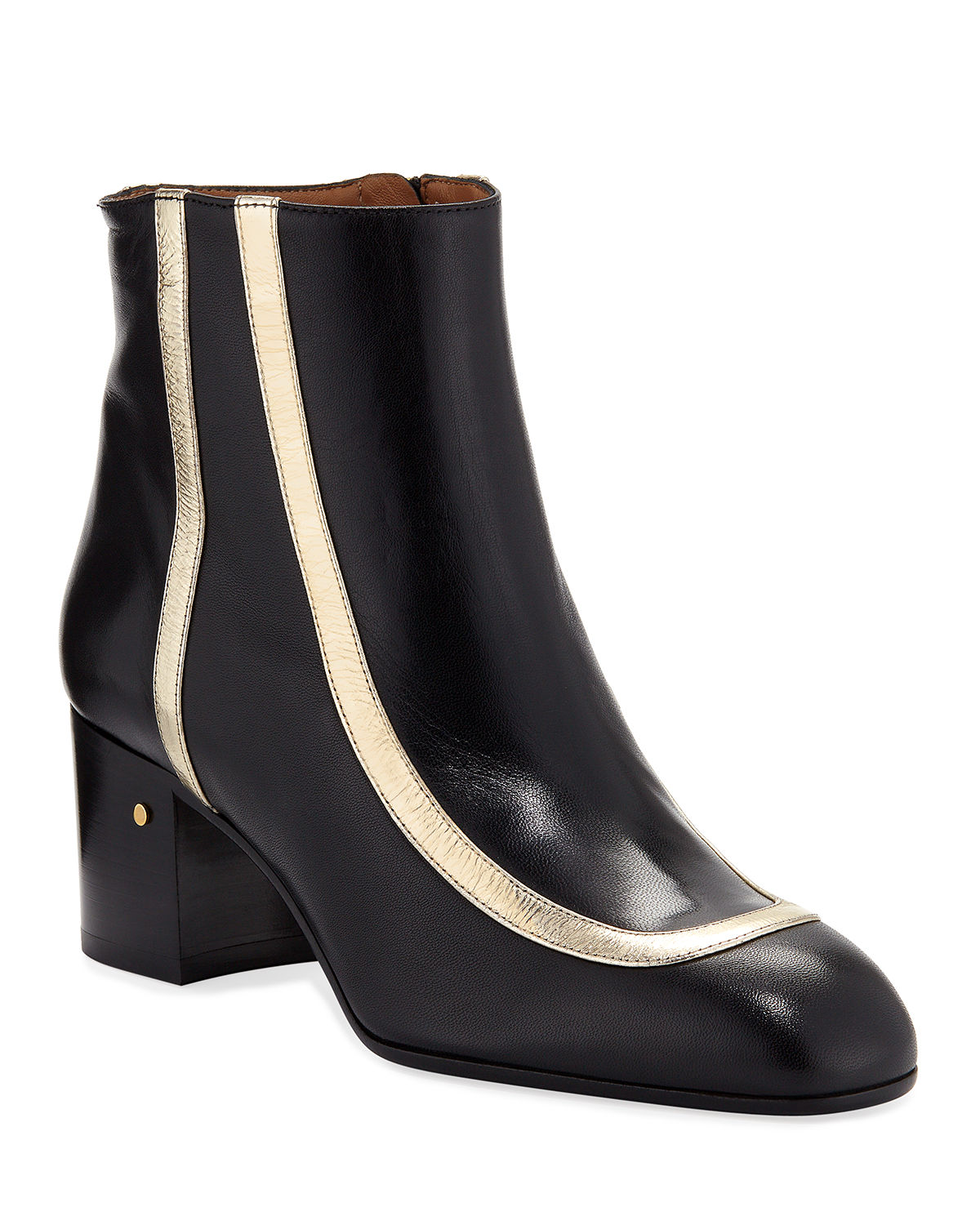 Laurence Dacade TELDA METALLIC STRIPED ANKLE BOOTIES