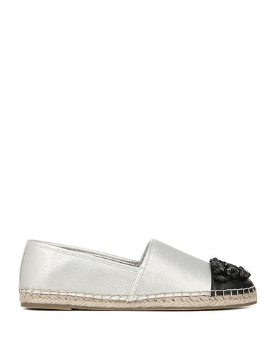 Loretta Beaded Metallic Slip-On Espadrilles