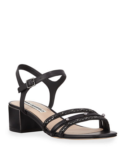 Tori Pearly Studded Leather City Sandals