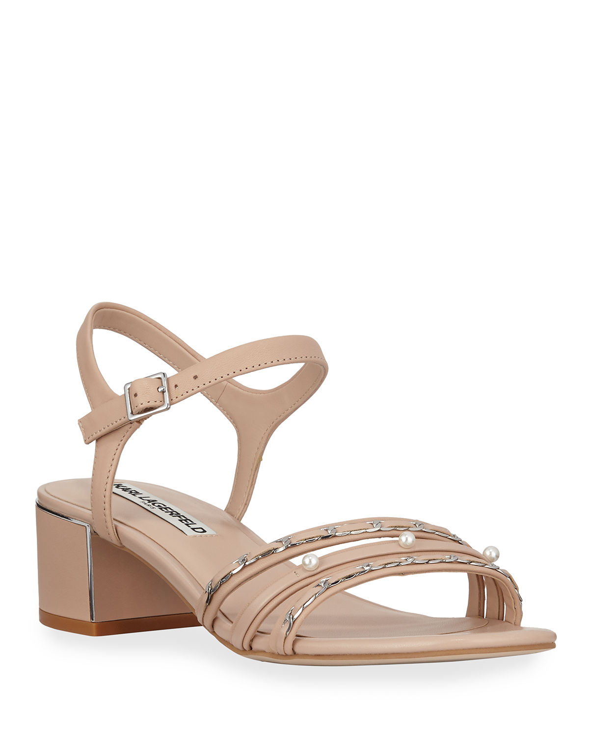 Karl Lagerfeld Sandals TORI PEARLY STUDDED LEATHER CITY SANDALS