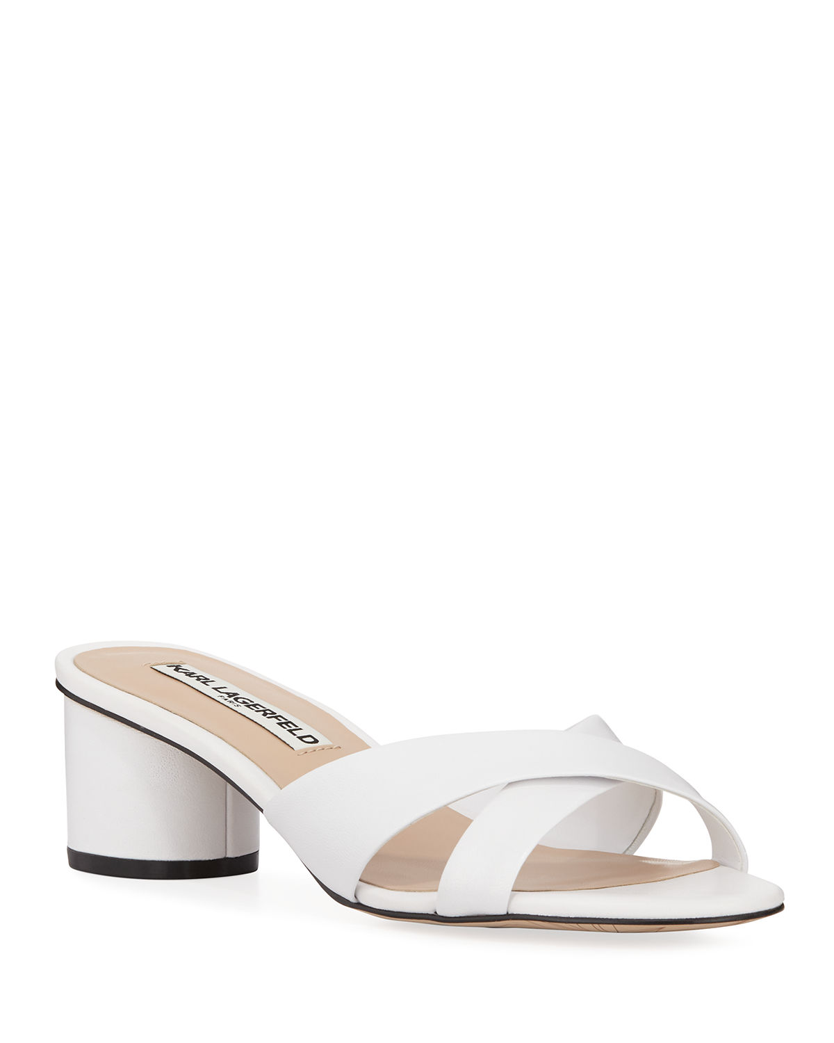 Karl Lagerfeld Leathers FAWN LEATHER CRISSCROSS SLIDE SANDALS
