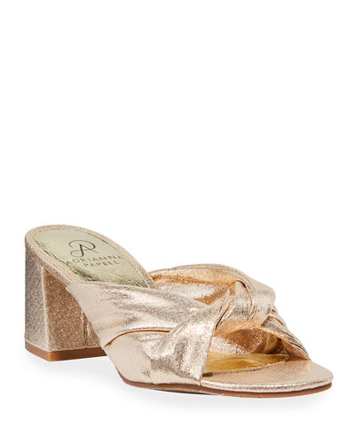 Anya Metallic Knot Block-Heel Sandals