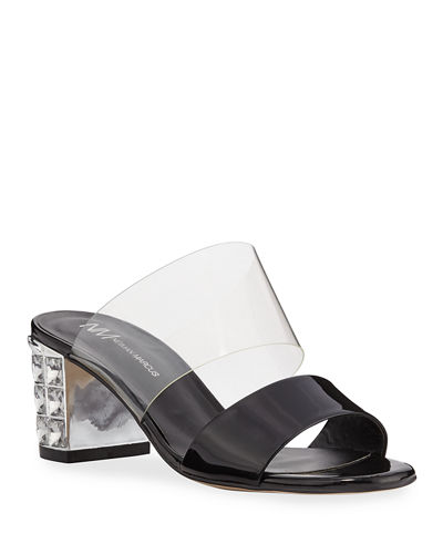 Jeweled-Heel Patent Mule Sandals