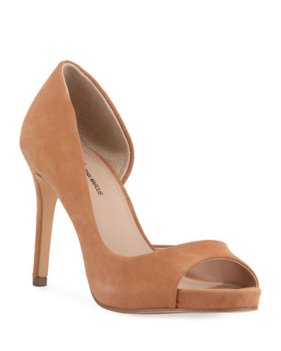 Code Peep-Toe Suede Pumps