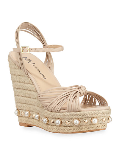 Lexicon Studded Platform Wedge Espadrilles