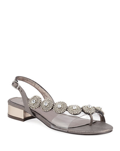 Dezy Embellished Medallion Slingback Sandals