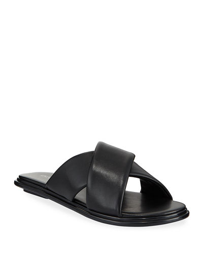 Eloise Faux-Leather Flat Slide Sandals