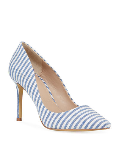 Vicky Striped Pointed-Toe Pumps