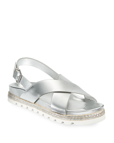 Lee Metallic-Leather Crisscross Sandals