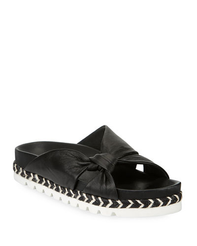 Lilia Knotted Leather Slide Sandals