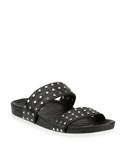 Erika Dome-Studded Leather Slide Sandals