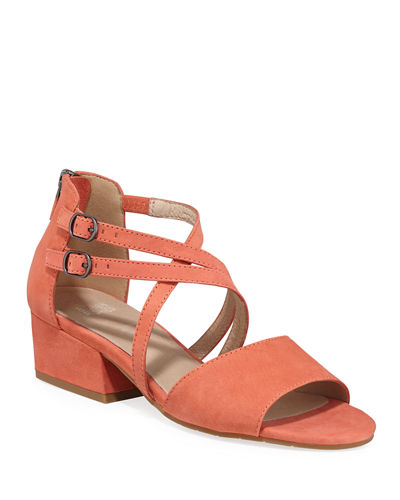 Kyra Strappy Low-Heel Nubuck Sandals