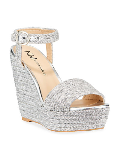 Braided Cord Platform Wedge Espadrilles