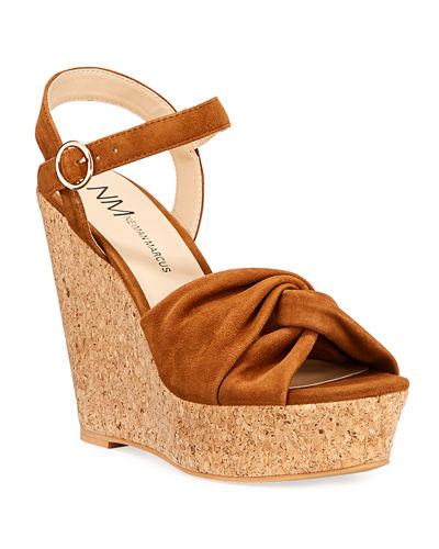 Neiman Marcus Knotted Platform Wedge Espadrilles