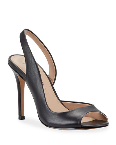 Raz Peep-Toe Slingback Leather Pumps