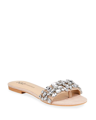 Jeweled Suede Flat Slide Sandals