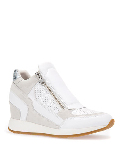 Leather Side-Zip Wedge Sneakers  White