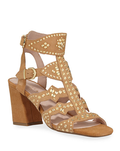 Cosmo Studded Suede Caged Sandals