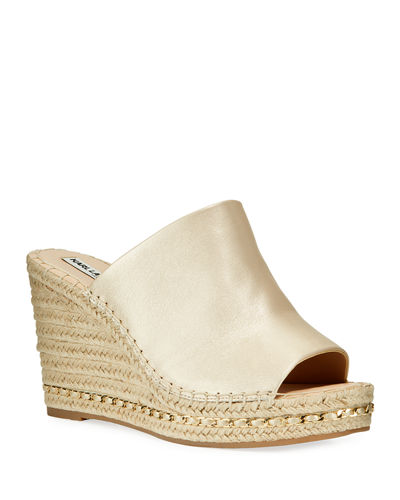Carina Metallic Leather Slide Espadrilles