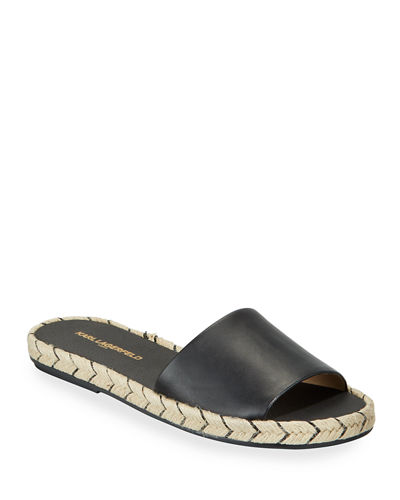 Niya Leather Braided-Jute Slide Sandals