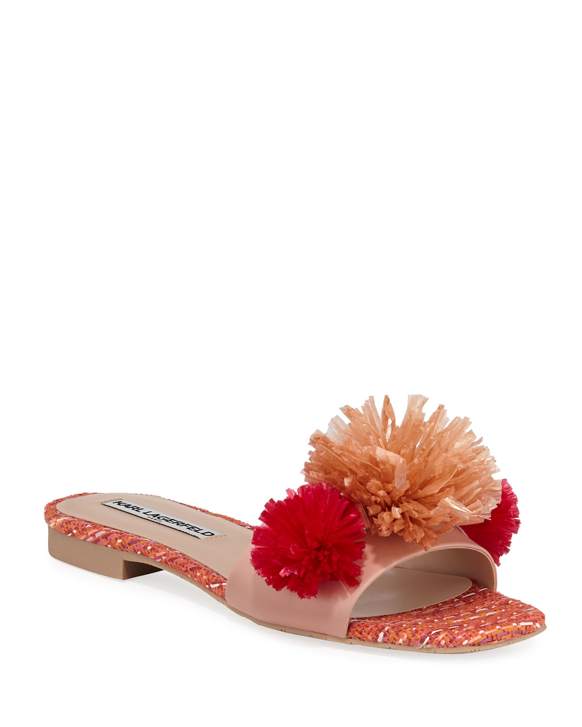 Karl Lagerfeld Sandals RAINY LEATHER RAFFIA POMPOM SLIDE SANDALS