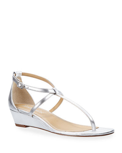 Bryce Metallic Leather Thong Sandals