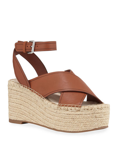 Carsie Crisscross Leather Wedge Espadrilles