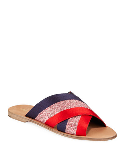 Bailie Ribbon Crisscross Flat Slide Sandals