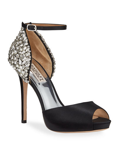 Vanity Crystal Embellished Peep-Toe Pumps